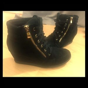 Black and Gold Sneaker Wedge